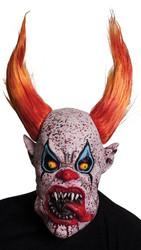 Clown with teeth, orange horns/hair overhead latex mask
