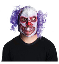 Clown with purple curly hair on sides overhead latex mask