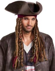 Adult Potc5 Captain Jack Sparrow Hat with Bandana & Dreads