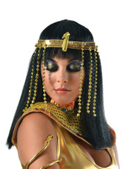Cleopatra Egyptian Headpiece gold adult womens Halloween costume accessory