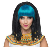 black blue Egyptian Cleopatra Wig adult womens Halloween costume accessory