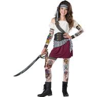 Girls Tween Tattoo Pirate Costume