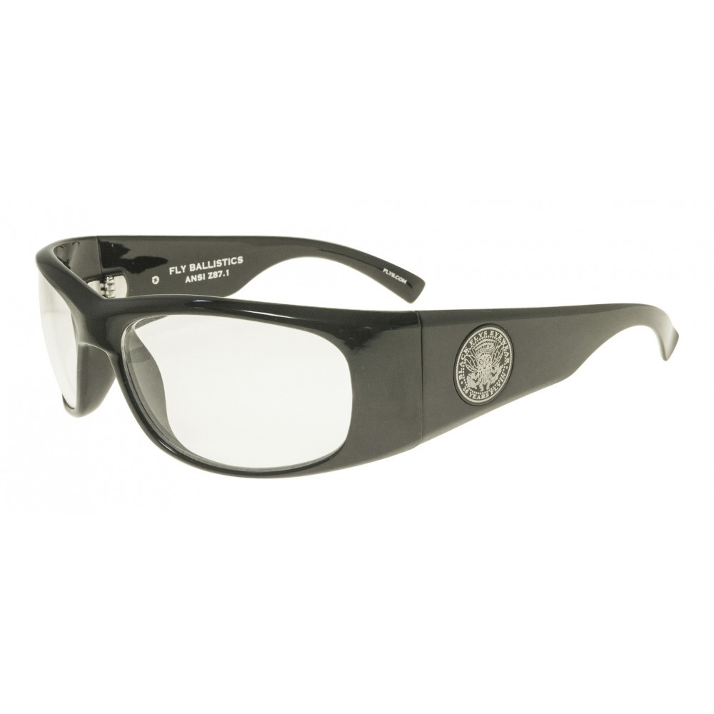 2f06a5a774 Black Flys Fly Ballistics Safety Glasses - Shiny Black - Clear Lenses - ANSI  Certified
