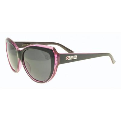 Flygirls Kissy Fly Sunglasses - Shiny Black Pink - Polarized Smoke Lenses - New