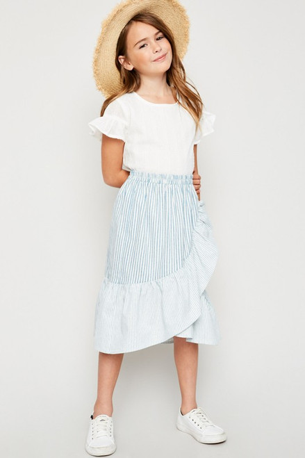 Girls Asymmetrical Stripe Wrap Skirt