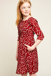 Girls Retro Polka Dot Midi Dress
