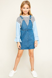 Girls Convertible Denim Overall Dress