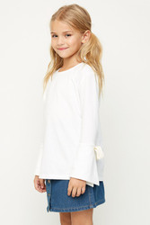 Girls Bell Sleeved Tie Top