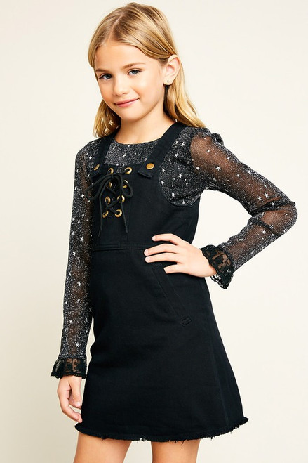 Girls Black Overall Denim Dress