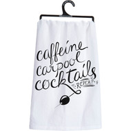 Caffeine Carpool Cocktails Dish Towel