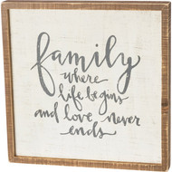 Family Where Life Begins And Love Inset Box Sign