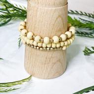 Cream Wood Stretch Bracelet