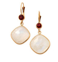 Moonstone and Garnet Earrings