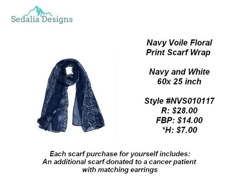 Navy Voile Scarf