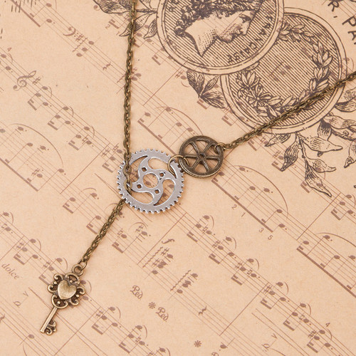 "resell for 15.00 or more  Steampunk Y Shaped Lariat Necklace Antique Bronze Gear Key Pendants 51.5cm(20 2/8"") long"