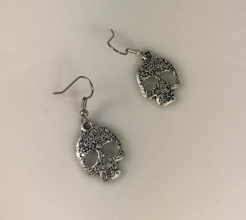 Resell for 7.00 or more  Pewter ornate sugar skulls  Surgical steel ear wires