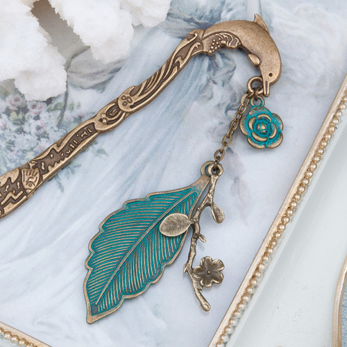 """resell for 12.00 or more  Ocean Jewelry Patina Bookmark Dolphin Animal Antique Bronze Leaf Flower 12.4cm(4 7/8"""") x 2.2cm( 7/8"""")"""