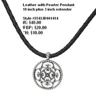 Pewter medallion on braided cord