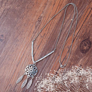"""resell for 15.00 or more Fashion Necklace Ball Chain Antique Silver V-shaped Dreamcatcher Pendant 55.0cm(21 5/8"""") long Style #DCN092117g"""