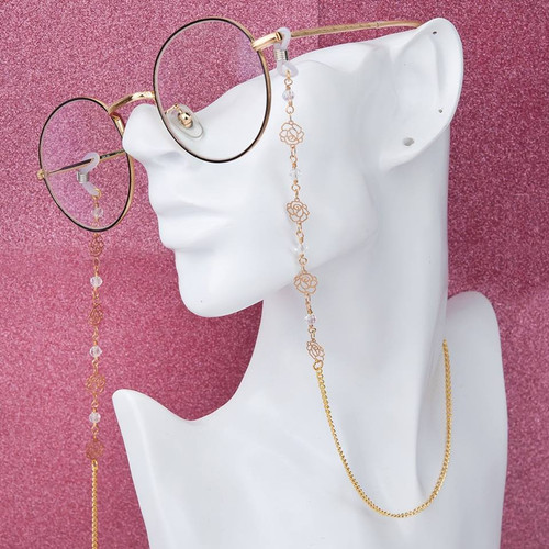 """resell for 12.00 or more Copper Eyeglasses Chain Holder Gold Plated White Flower 88cm(34 5/8"""") long Style #GEGC092317g"""