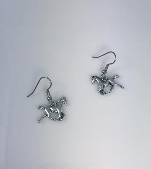 Resell for 5.00 ** Pewter horse earrings  Surgical steel ear wires Style #3DHE092417g
