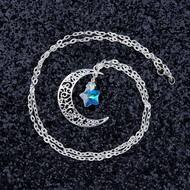 """resell for 12.00 or more Glass AB Color Star Half Moon Necklace Textured Link Cable Chain Silver Plated Hollow Carved 62.5cm(24 5/8"""") long Style #CMCSN092817g"""