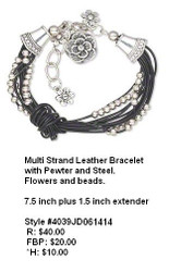 Pewter and Leather Bracelet with Flowers and Beads