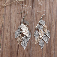 """resell for 12.00 or more  Filigree Stamping Earrings Leaf Hollow Silver Tone & Gold Plated 80mm(3 1/8"""") Style #LLLCE101417g"""
