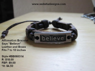Leather and Brass Believe Bracelet / Affirmation