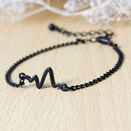 """resell for 7.00 or more Fashion Bracelets Link Curb Chain Black Painting Heartbeat /Electrocardiogram 17cm(6 6/8"""") long plus ext Style #BEB102617g"""