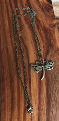 Resell for 9.00 or more 24 inch antiqued brass chain   Antiqued brass dragonfly Style #ABDN103017g