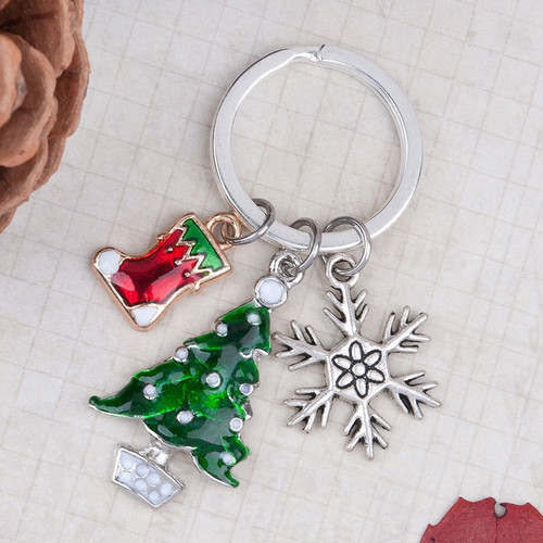 """resell for 9.00 or more Keyring Silver Plated & Silver Tone & Light Golden & Antique Silver Christmas Tree & Christmas Stocking & Snowflake Carved White & Green Enamel 6.1cm(2 3/8"""") Style #CKC110917g"""