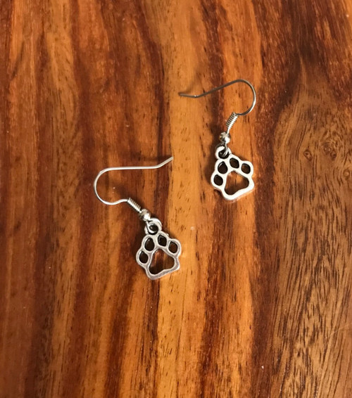 Paw print earrings  Pewter paws  surgical steel ear wires  PPE111317g