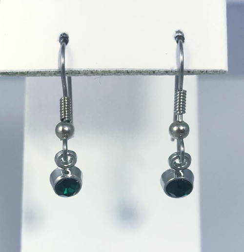 Resell for 5.00 or more Pewter with crystal  May birthstone Emerald (imitation) Style #EBSE112217g