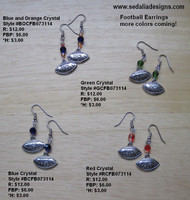 Blue and Orange I Love Football Earrings