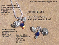 Blue and Silver Football Bauble; chain sold separately