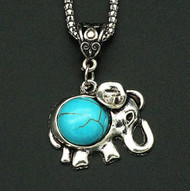resell for 12.00 or more pewter elephant with turquoise magnesite silver tone 22 inch chain w ext Style #TMEN113017g
