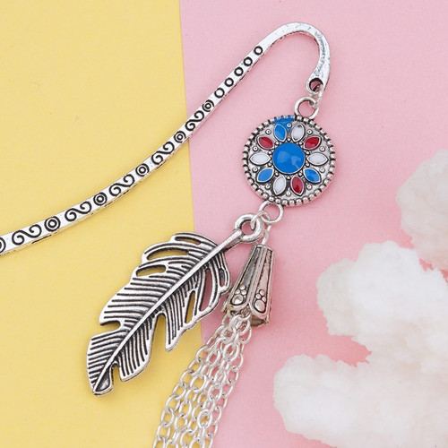 """resell for 12.00 or more Bookmark Tassel Antique Silver White & Blue Enamel Feather 86mm(3 3/8"""") x 15mm( 5/8"""") Style #FTB113017g"""