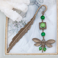 resell for 12.00 or more Bookmark Dragonfly Animal Antique Bronze Green Magnesite  Antiqued Brass Feather Style #DFBG113017g