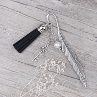 "resell for 12.00 or more Vintage Handmade Bookmark Feather Antique Silver Key Pendant Acrylic White Pearl Imitation Bead With Velvet Faux Suede Black Tassel 11.7cm(4 5/8"") Style #KTFB113017g"