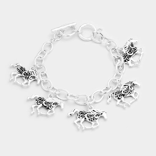 """resell for 36.00 or more • Color : Antique Silver • Theme : Animal  • Size : 1"""" H • Total Size : 7"""" + 1"""" L • Toggle Closure • Material : Lead and nickel compliant • Antique Metal Horse Charms Station Bracelet Style #HCB120417g"""