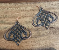 "Resell for 8.00 or more Antiqued copper laser lace Light weight Copper earwires 2 1/8 "" x 2"" Style #CLLE120717g"