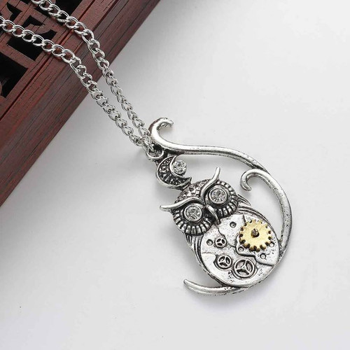 """resell for 18.00 or more Steampunk Necklace Link Curb Chain Antique Silver Wing Gear Pendant With Clear Rhinestone 63.5cm(25"""") long Style #SPON120817g"""
