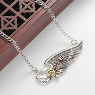 """resell for 15.00 or more Steampunk Necklace Link Curb Chain Antique Silver Wing Gear Connector 63.2cm(24 7/8"""") Style #SPWGN120817g"""