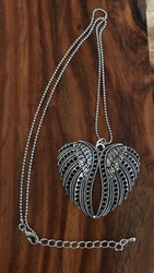 """Resell for 15.00 Or more Silver tone ball chain 20 inch plus ext chain  Winged heart is pewter 1 6/8"""" x 1 7/8"""" Style #WHP120917g"""