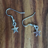 """Resell for 5.00 or more Tiny pewter star 3/8"""" Surgical steel ear wires Style #TSE120917g"""