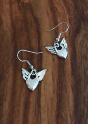 Resell for 5.00 or more Pewter heart w wings  Surgical steel ear wires Style #WHPE121117g