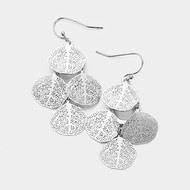 """resell for 18.00 or more • Color : Rhodium • Theme : Filigree  • Size : 1"""" X 1.75"""" • Fish Hook Back • Material : Lead and nickel compliant • Filigree Metal Disc Cluster Dangle Earrings Style #FLDCE121217g"""