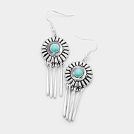 """resell for 18.00 or more • Color : Turquoise, Worn Silver  • Size : 0.7"""" X 2.5"""" • Fish Hook Back • Material : Lead and nickel compliant • Antique Round Turquoise Metal Bar Dangle Earrings Style #DCTE121217g"""
