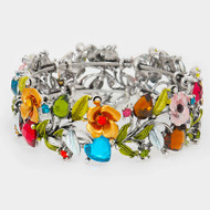 """resell for 27.00 or more • Color : Multi, Antique Silver • Theme : Flower & Leaf  • Size : 1"""" H • Cuff • Glass crystal & metal vine open bracelet Style #BCCB121217g"""